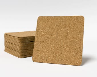 "Self Stick Cork Backing - 3.75"" x 3.75 with rounded corners"" -  Made for 4"" Tile or Stone  coasters, Self Adhesive"