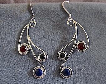 sterling silver multi-stone earrings