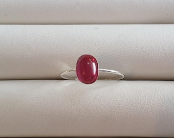 Simple Ruby silver ring