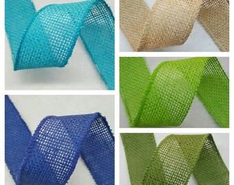 "1.5"" Burlap Ribbon - 5 Yds - Finished Edge Wired - 100% Natural Jute Burlap Ribbon - Craft Decor Burlap Rustic"