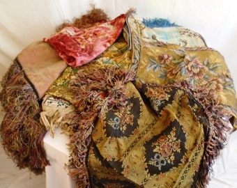 Vintage 1920s Tablecloths and Runners Wholesale Lot 6 Different Fringe, Velvet, Novelty Rayon and Wool