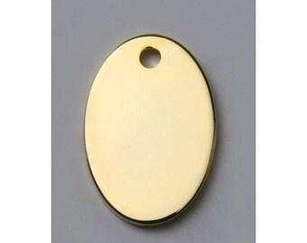 Oval plates gold x 6 metal, 20 x 14 mm