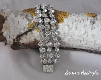 Handmade Weddings Rhinestone Pearl Bracelet , Brides Bridesmaids Gifts,Rhinestone Bracelet , Wedding bracelet , wedding jewelry,