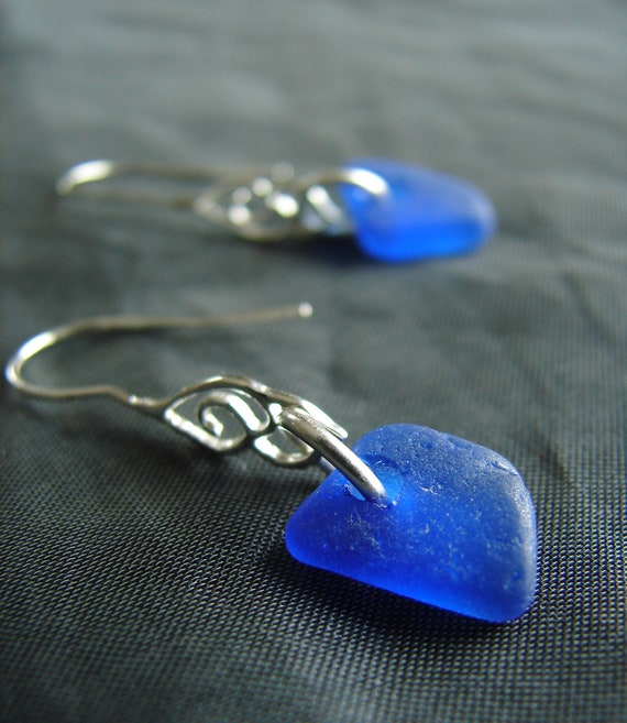 Whitecap sea glass earrings in cobalt blue