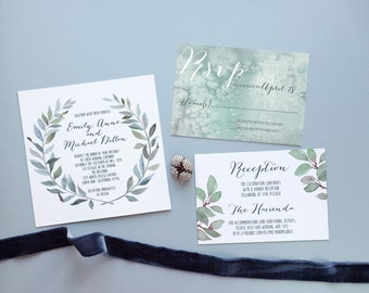 SAMPLE - Wedding Invitation Suite - Watercolor Wedding Invitation, Olive Wedding Invitation, Greenery Wedding Invite, Southern Wedding