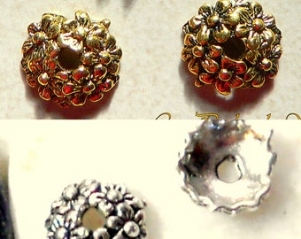 10 cups molded flowers gold or silver antique 11x3mm