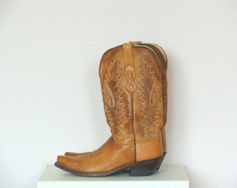 Vintage Tan Stitched Leather Western Boots / Cowgirl Boots / size UK 4