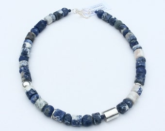 White Sodalite and Sterling Silver Necklace