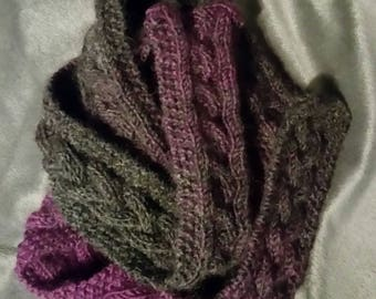 Hand Knit Purple and Black Cabled Wool Blend Scarf