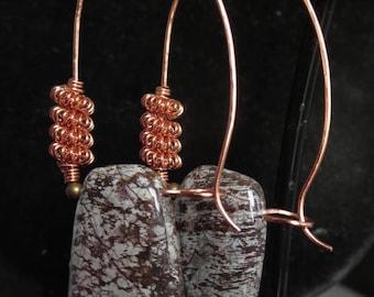 TRAPEZE.  Burnt Umber. White. Jasper Stone and Solid Copper Artisan Earrings