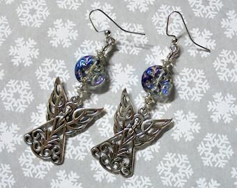 Iridescent Blue Silver Filigree Angel Earrings (4049)