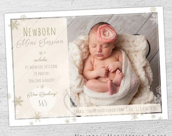 Newborn Photo Session Marketing, Photoshop Template, Newborn Mini Session Template, Photographer Baby, Photographer Templates - 02-001-MB
