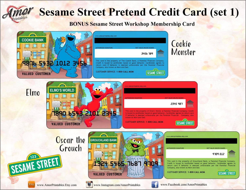 Sesame Street Pretend Credit Cards Membership Card