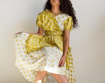 1950s Chartreuse Polka Dot Ruffled Dress
