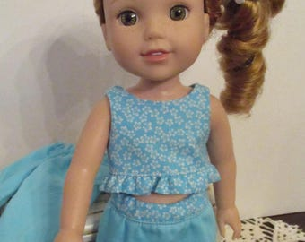 Blue Doll Dress and Doll Pants Outfit to fit your Wellie Wishers Doll