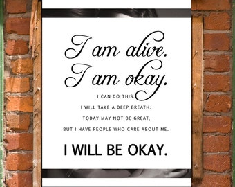 Keep Going Anxiety Affirmation Inspirational Wall Art Print Printable Decor INSTANT DOWNLOAD