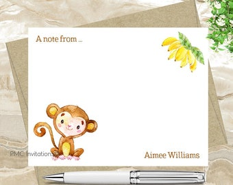 Custom Note Cards, Personalized Stationery Set, Watercolor Personalized Stationery, Monkey, Notecard Set, FREE SHIPPING