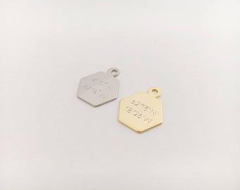 Coordinate Hexagon Pendant, B21-E2, Nickel free, 1pc, PENDANT ONLY, Engraved Pendant, 14x16mm, GPS Coordinate, Necklace pendant