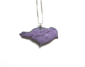 """Purple Enamel Bird Pendant with Japanese Cherry Blossom  Pattern on 16"""" Sterling Silver chain."""