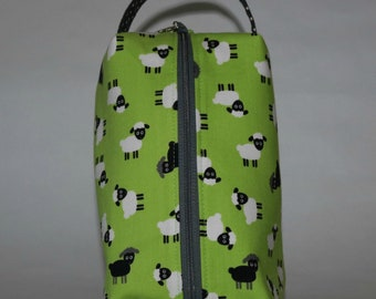 Box knitting crochet project bag scattered sheep