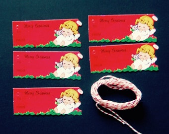 Lot of 5 Mid Century 1960's Vintage Angel Christmas Gift Tags, with Red Candy Stripe Baker's Twine