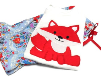 Girls Outfit, Fox outfit, Fox girl clothes,  Fox Bodysuit and Bloomer Set, Fox for Girl, 18 month girl, Fox shirt, Fox Birthday, Red Fox