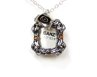 Picture frame rose silver charm necklace LAST ONE