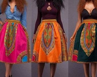 Dashiki minkyi print flare skirt