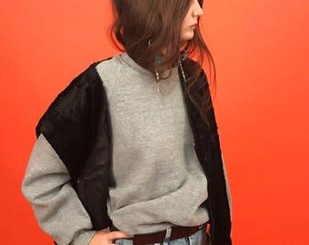 Furry plush velvet boxy vest L