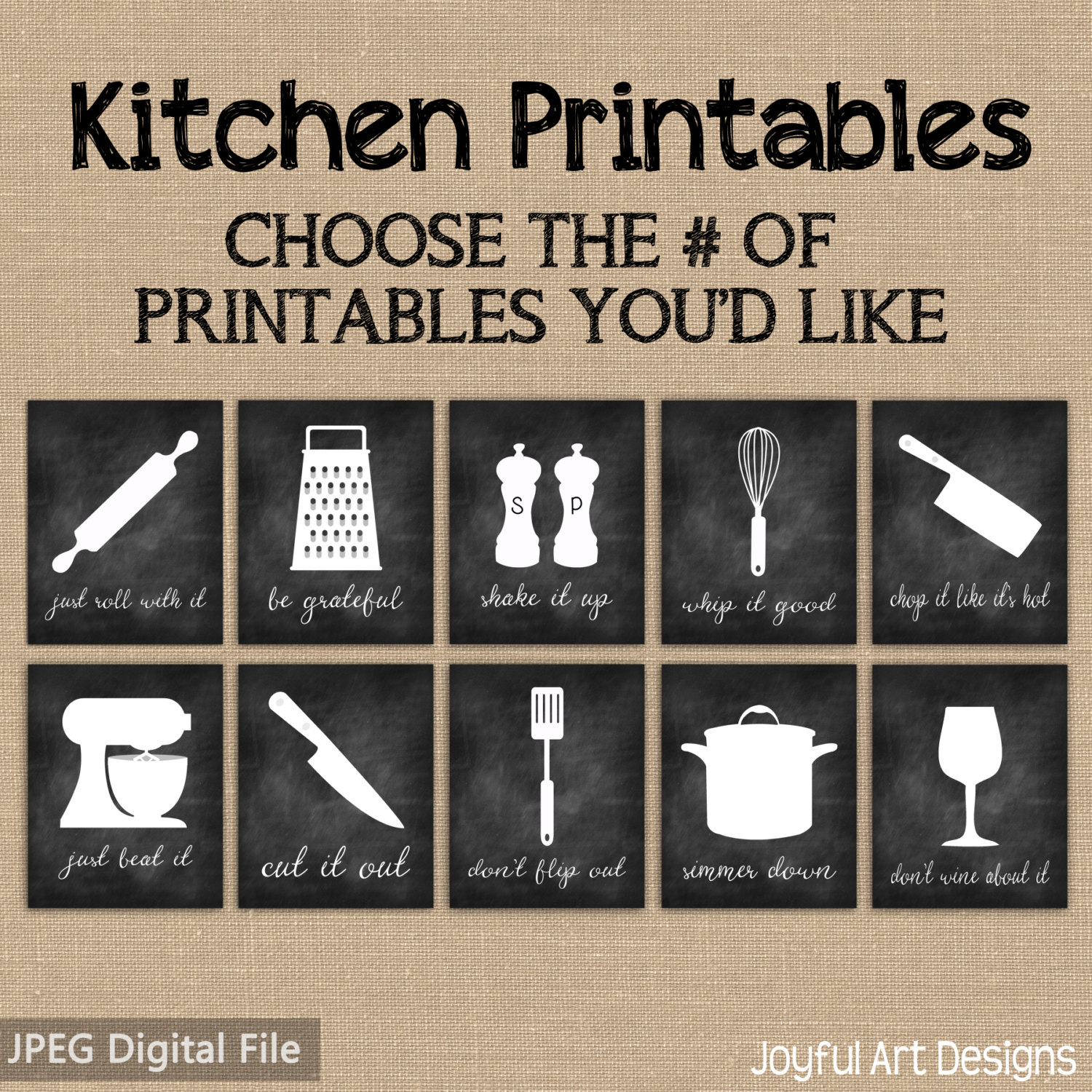 Quotes About Kitchens: Kitchen Decor PRINTABLE Signs. Set Of Chalkboard Kitchen