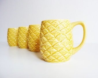 Vintage Pineapple Mugs, Textured Ceramic Mugs, Hawaiiana, Tropical Fruit, Yellow, Kitsch, Cheery Kitchen Decor, Luau Accessory, Tiki Party
