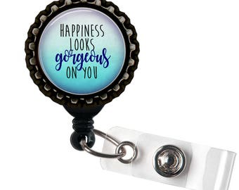 Happiness Looks Gorgeous on You - Blue and Black Retractable Badge Reel ID Holder