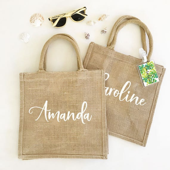 Personalized Burlap Gift Bags, 12 x 12 with gusset
