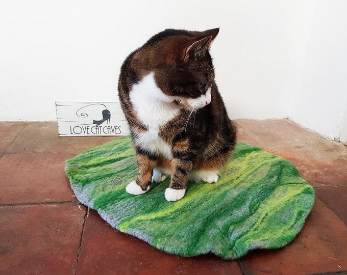 Cat Bed, Cat Mat, Pet Bed rug handmade 100% wool in grey and greens