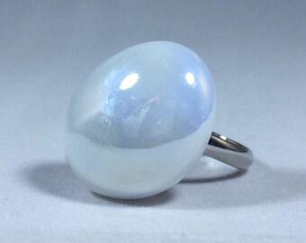 Pearl Glass Pebble Adjustable Ring