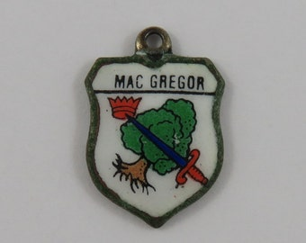 Mac Gregor Enamel Travel Shield Silver Vintage Charm For Bracelet