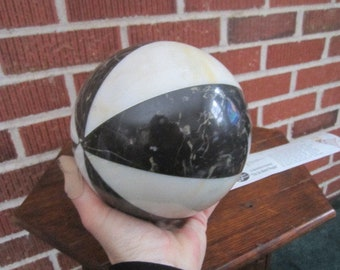 Vintage Mid Century Modern Large Black and White Solid Stone Marble Decorative Sphere