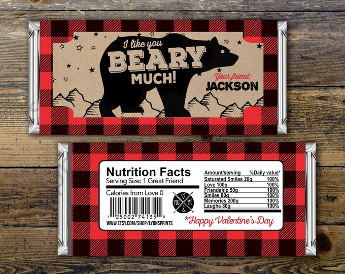 Valentine's Day, candy wrapper – lumberjack, bear  – Party Favors- Valentine's candy, lumberjack, woodland, class party, Valentines treat