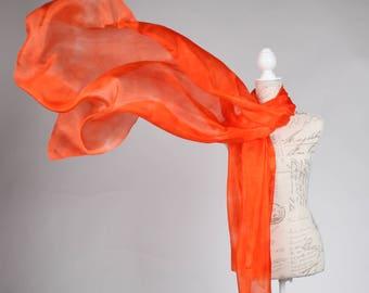girlfriend gift scarf / oversized orange silk scarf / Orange crush silk scarf / orange headwrap /  bright salmon turban /