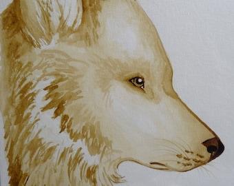 Wolf coffee painting