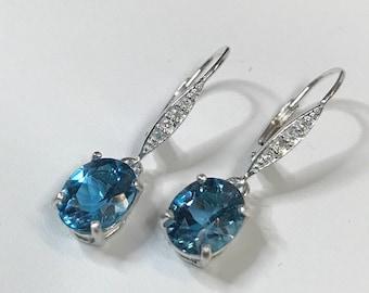BEAUTIFUL 6ctw London Blue Topaz & White Topaz Sterling Silver Leverback Earrings Trending Jewelry Gift December Mom Wife Sister Fiancé