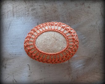 Crocheted Stone, Handmade, Unique Gift, Decorative Doily Rock, Bohemian Beach, Small, Orange Thread, Miniature Art, Collectible, Monicaj