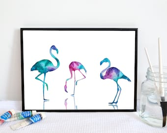 Flamingo Watercolour Painting // Tropical Bird Illustration // Palm Tree Art Print