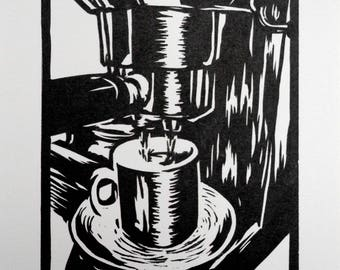 Espresso Linocut Print