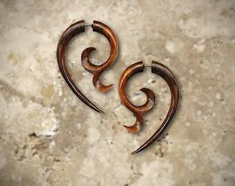 Fake Gauge Earrings, Charming Curls, Tribal Jewelry, Expanders, Organic, Handmade, Tribal Earrings, Split, Cheaters Tropical Wood - W3