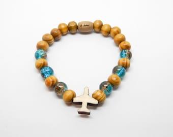 Wooden bracelet PLANE wanderlust travel