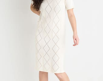 60s Diamond Knit Fitted Dress