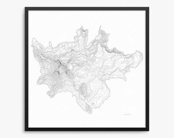 Broken Top Poster, Broken Top Oregon, Broken Top Map Art, Broken Top Contour Map, Oregon, Broken Top Mountain, Home Decor, Office Decor