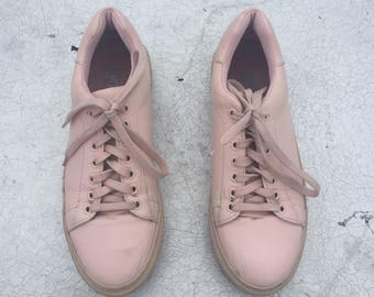 Baby Pink leather sneakers