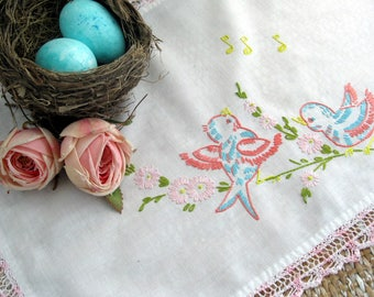 Embroidered Birds on Doily, Spring Decor Doily, Birds Singing on Doily, Handmade Vintage, by mailordervintage on etsy